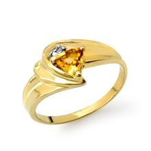 Genuine 0.41 ctw Citrine & Diamond Ring 10K Yellow Gold - 13197-#13X3Y