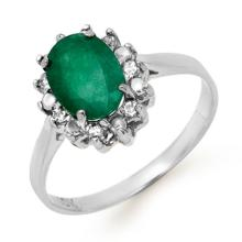 Genuine 1.27 ctw Emerald & Diamond Ring 10K White Gold - 12781-#16N8F
