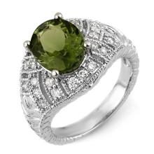 Genuine 3.60 ctw Green Tourmaline & Diamond Ring 18K White Gold - 10767-#114X5Y