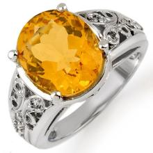 Genuine 5.15 ctw Citrine & Diamond Ring 10K White Gold - 10989-#36A2N