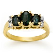 Natural 1.33 ctw Blue Sapphire & Diamond Ring 14K Yellow Gold - 14004-#26P8X