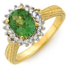Genuine 1.75 ctw Green Tourmaline & Diamond Ring 10K Yellow Gold - 10985-#40G7R