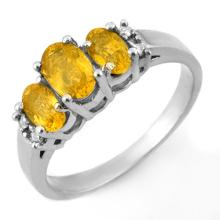 Natural 1.39 ctw Yellow Sapphire & Diamond Ring 18K White Gold - 10330-#38G8R