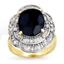 Natural 7.85 ctw Blue Sapphire & Diamond Ring 14K Yellow Gold - 13076-#124M2G