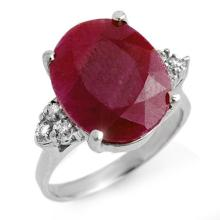 Genuine 8.83 ctw Ruby & Diamond Ring 18K White Gold - 13741-#62A7N