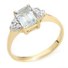 Natural 1.22 ctw Aquamarine & Diamond Ring 18K Yellow Gold - 10040-#28H5W