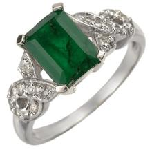 Genuine 2.25 ctw Emerald & Diamond Ring 14K White Gold - 10967-#37R8H