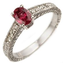Natural 0.66 ctw Pink Tourmaline & Diamond Ring 10K White Gold - 10864-#25N2F