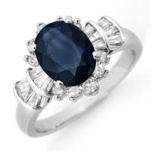 Genuine 2.13 ctw Blue Sapphire & Diamond Ring 18K White Gold - 13327-#67X5Y