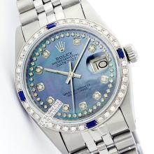 Rolex Ladies Stainless Steel, Diam Dial & Diam/Sapphire Bezel, Saph Crystal - REF#349Y3N