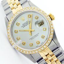 Rolex Ladies 2Tone 14K Gold/ Stainless Steel, Diamond Dial & Diamond Bezel, Saph Crystal - REF#316Z4F