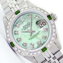 Rolex Ladies Stainless Steel, Diam Dial & Diam/Emerald Bezel, Saph Crystal - REF#338K2A