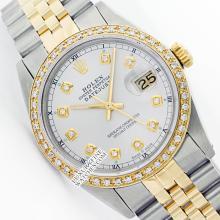Rolex Men's 2Tone 14K Gold/ SS, QuickSet, Diamond Dial & Diamond Bezel - REF#458F2W