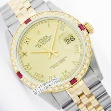 Rolex Ladies 2Tone 14K Gold/ Stainless Steel, Roman Dial & Diam/Ruby Bezel, Saph Crystal - REF#294X5G