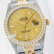 Rolex Men's 2Tone 14K Gold/ SS, QuickSet, Diamond Dial & Diamond Bezel - REF#463W6Z
