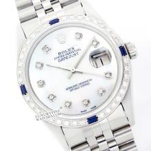 Rolex Ladies Stainless Steel, Diam Dial & Diam/Sapphire Bezel, Saph Crystal - REF#338N2J