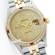 Rolex Men's 2Tone 14K Gold/ SS, QuickSet, Diam Pave Dial & Diam/Ruby Bezel - REF#556A4M