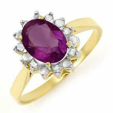 1.26 ctw Amethyst & Diamond Bridal Engagement Anniversary Ring 10K Yellow Gold, Size 6.5  - REF#13Z2X