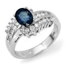 1.75 ctw Blue Sapphire & Diamond Bridal Engagement Anniversary Ring 18K White Gold, Size 6.5  - REF#66H5J