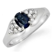 0.9 ctw Blue Sapphire & Diamond Bridal Engagement Anniversary Ring 18K White Gold, Size 6.5  - REF#33F8G