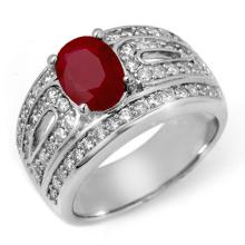 2.79 ctw Ruby & Diamond Bridal Engagement Anniversary Ring 18K White Gold, Size 6.75  - REF#103H8J