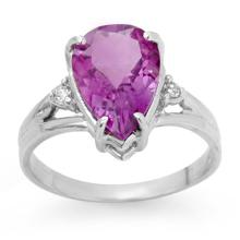 2.55 ctw Amethyst & Diamond Bridal Engagement Anniversary Ring 18K White Gold, Size 6.5  - REF#22F5G