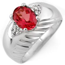 1.15 ctw Pink Tourmaline & Diamond Bridal Engagement Anniversary Ring 10K White Gold, Size 6.75  - REF#29R4T