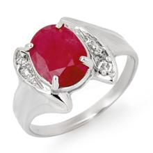 3.12 ctw Ruby & Diamond Bridal Engagement Anniversary Ring 18K White Gold, Size 7  - REF#25T3Y