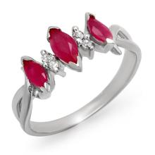 0.57 ctw Ruby & Diamond Bridal Engagement Anniversary Ring 18K White Gold, Size 7  - REF#21Y9P