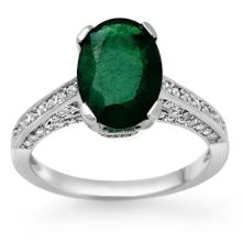 3.25 ctw Emerald & Diamond Bridal Engagement Anniversary Ring 10K White Gold, Size 6.5  - REF#39Z2X