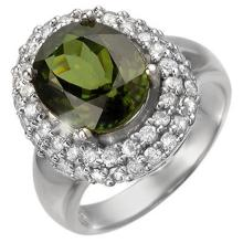 5.5 ctw Green Tourmaline & Diamond Bridal Engagement Anniversary Ring 18K White Gold, Size 6.5  - REF#106N2M