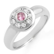 0.35 ctw Pink Sapphire & Diamond Bridal Engagement Anniversary Ring 14K White Gold, Size 6  - REF#28P4F