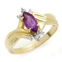 0.52 ctw Amethyst & Diamond Bridal Engagement Anniversary Ring 10K Yellow Gold, Size 6.5  - REF#10G1H