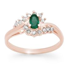 0.45 ctw Emerald & Diamond Bridal Engagement Anniversary Ring 14K Rose Gold, Size 6.5  - REF#21M9W