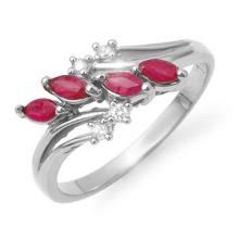 0.4 ctw Ruby & Diamond Bridal Engagement Anniversary Ring 14K White Gold, Size 6.5  - REF#20G2H