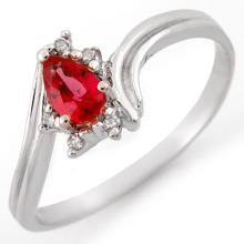 0.35 ctw Red Sapphire & Diamond Bridal Engagement Anniversary Ring 14K White Gold, Size 6.5  - REF#14V5N