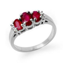 1.18 ctw Ruby & Diamond Bridal Engagement Anniversary Ring 18K White Gold, Size 6  - REF#28R4T