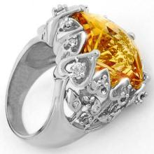 11.4 ctw Citrine & Diamond Bridal Engagement Anniversary Ring 10K White Gold, Size 6.5  - REF#59T9Y