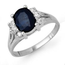 2.14 ctw Blue Sapphire & Diamond Bridal Engagement Anniversary Ring 18K White Gold, Size 6  - REF#28W8R