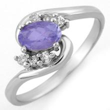 0.6 ctw Tanzanite & Diamond Bridal Engagement Anniversary Ring 14K White Gold, Size 6.5  - REF#16R7T
