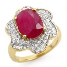 6.95 ctw Ruby & Diamond Bridal Engagement Anniversary Ring 14K Yellow Gold, Size 7  - REF#92Z2X