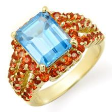 5 ctw Red Sapphire & Blue Topaz Bridal Engagement Anniversary Ring 10K Yellow Gold, Size 7.5  - REF#44Z2X