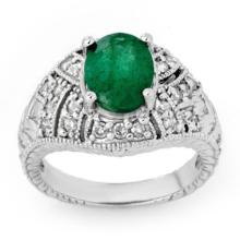 3.8 ctw Emerald & Diamond Bridal Engagement Anniversary Ring 14K White Gold, Size 6  - REF#63Y3P