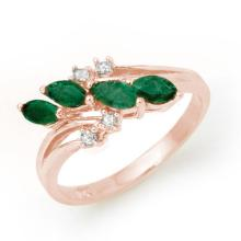0.4 ctw Emerald & Diamond Bridal Engagement Anniversary Ring 18K Rose Gold, Size 6.5  - REF#26P5F