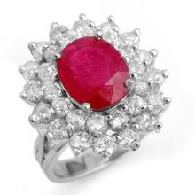 8 ctw Ruby & Diamond Bridal Engagement Anniversary Ring 18K White Gold, Size 7.5  - REF#187H5J