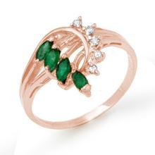 0.55 ctw Emerald & Diamond Bridal Engagement Anniversary Ring 14K Rose Gold, Size 7  - REF#21K2Z