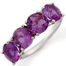 3.66 ctw Amethyst Bridal Engagement Anniversary Ring 10K White Gold, Size 6  - REF#18H8J