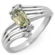 0.8 ctw Green Sapphire & Diamond Bridal Engagement Anniversary Ring 10K White Gold, Size 6  - REF#15R8T