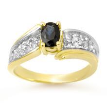 1.4 ctw Blue Sapphire & Diamond Bridal Engagement Anniversary Ring 10K Yellow Gold, Size 6  - REF#29Y5P