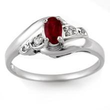 0.49 ctw Ruby & Diamond Bridal Engagement Anniversary Ring 14K White Gold, Size 6.5  - REF#16R8T